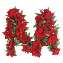 9 ft. Battery Operated Artificial Poinsettia Garland with 50 Clear LED Lights-BOWOTHD180A 205983432
