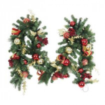 9 ft. Battery Operated Plaza Artificial Garland with 50 Clear LED Lights-BOWOTHD173F 205983367