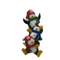 Alpine 12 in. 3 Penguin Statuary with Color Changing LED Lights-ZEN214S 207140376