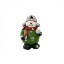 Alpine 16 in. Snowman Holding Snowball Statue with 5 Color Changing LED's-AJY336 207140309