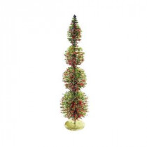 Alpine 18 in. Rattan and Berries Christmas Tree with 4 Circular Shaped Tiers-CIM154HH-S 207140314