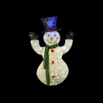 Alpine 50 in. White Thread Snowman Decor with 100 LED Lights (Plug In)-CRX395 207140324
