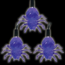 Battery Operated 10-Light LED Purple Halloween Spider Light Set (Set of 2)-97-602-20 204619501