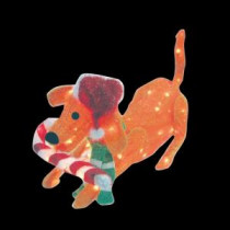 Brite Star 31.5 in. 105-Light 3D Snowy Soft Puppy Dog with Candy Cane-48-350-00 203542189