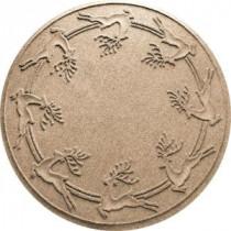 Bungalow Flooring Aqua Shield Khaki 35 in. Round Reindeer Run Under the Tree Mat-20648503535 206317265