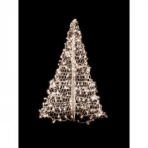 Crab Pot Trees 4 ft. Indoor/Outdoor Pre-Lit Incandescent Artificial Christmas Tree with White Frame and 300 Clear Lights-W4W 205471447