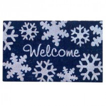 Creative Accents Snowflakes Blue 18 in. x 30 in. SuperScraper Vinyl / Coir Door Mat-33049 203576108