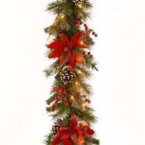 Decorative Collection 9 ft. Tartan Plaid Garland with Battery Operated Warm White LED Lights-DC13-147-9BB-1 300330525