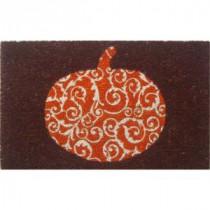 Entryways Scrolled Pumpkin 17 in. x 28 in. Non-Slip Coir Door Mat-P2038 205850036