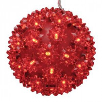 GE 5.5 in. 50-Light LED StayBright Red Super Sphere-99309HD 206768305