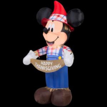Gemmy 24.41 in. W x 20.47 in. D x 45.67 in. H Inflatable Mickey as Scarecrow-70460 207107596