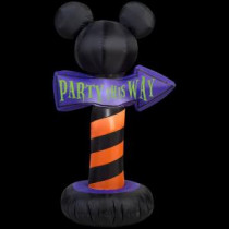 Gemmy 25.20 in. W x 18.11 in. D x 42.13 in. H Inflatable-Outdoor Sign Mickey Ears Party This Way-72310 207107603