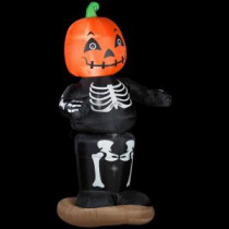 Gemmy 36.22 in. W x 30.71 in. D x 72.05 in. H Animated Inflatable Dancing Pumpkin Boy Skeleton-64957X 205469602