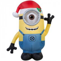 Gemmy 42 in. H Inflatable Minion Stuart with Santa Hat-38291 205919574