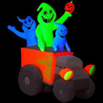 Gemmy 5 ft. Airblown Inflatable Halloween Neon Hot Rod Ghosts-64630X 204475338