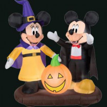 Gemmy 51.18 in. L x 37.40 in. W x 53.94 in. H Inflatable Mickey and Minnie with Jack-O-Lantern Scene-58774X 300060752