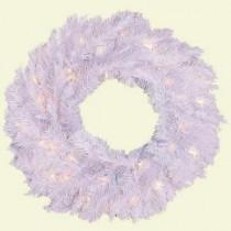 General Foam 24 in. Pre-Lit Deluxe White Winter Fir Artificial Wreath with Clear Lights-HD-W24717C5 203320841