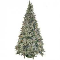 General Foam 9 ft. Pre-Lit Siberian Frosted Pine Artificial Christmas Tree with Clear Lights and Pine Cones-HD-92290C1 203321340
