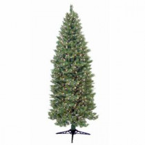 General Foam 9 ft. Pre-Lit Slender Spruce Artificial Christmas Tree with Clear Lights-HD-LP90C85 203321375