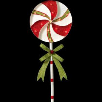 Gerson 39 in. H Battery Operated Lighted Metal Holiday Pinwheel Lollipop Yard Stake-2273260HD-2B 206997387