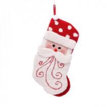 Glitzhome 20 in. Polyester/Acrylic Hooked 3D Santa Christmas Stocking-JK19939PFSA 207053486