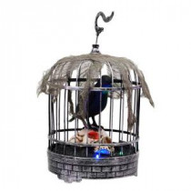 Home Accents Holiday 10 in. Animated Talking Raven in Cage with Skull-6346-13817HD 206770875