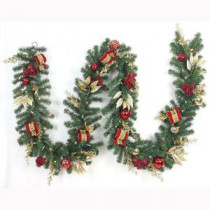 Home Accents Holiday 12 ft. Pre-Lit Plaza Artificial Garland with 100 Battery-Operated Warm White LED-CHZH17616100THD 206771186