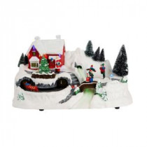 Home Accents Holiday 12 in. North Pole Christmas Scene with Santa's House and Animated Train-5240-12897HD 205927888