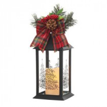 Home Accents Holiday 13 in. Black Plastic Lantern with Outdoor Resin Timer Candle-42917HD 205915096