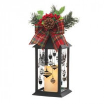 Home Accents Holiday 13 in. Black Plastic Lantern with Outdoor Resin Timer Candle-42917HD 205915122