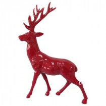 Home Accents Holiday 17 in. H Glazed Red Standing Reindeer-LX1285-R 205930654
