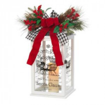 Home Accents Holiday 18 in. H White Wooden Holiday Lantern with LED Resin Timer Candle-42584HD-1 206954322
