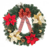 Home Accents Holiday 24 in. Red and Gold Poinsettia Wreath-2323300HD 206954312