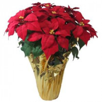 Home Accents Holiday 28 in. Extra Large Red Silk Poinsettia Arrangement (Case of 2)-03X3035R14 206949844