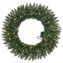 Home Accents Holiday 30 in. Battery Operated Meadow Artificial Wreath with 50 Clear LED Lights-GD26P2581L00 206771041