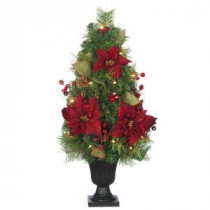 Home Accents Holiday 32 in. Burgundy Poinsettia and Berry Potted Artificial Christmas Tree with 35 Clear Lights-2110240HD 203986776