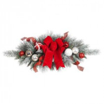Home Accents Holiday 32 in. Flocked Pine Swag with Red and White Ball and Velvet Bow-2321300HD 206771268