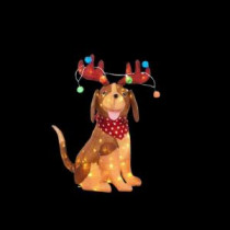 Home Accents Holiday 32 in. LED Lighted Tinsel Dog with Antlers and Light Bulbs-TY207-1614-2 206963155