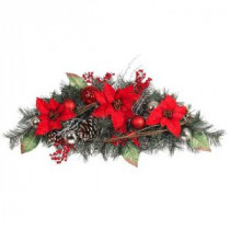 Home Accents Holiday 32 in. Red Poinsettia Pine Swag with Red and Silver Balls-2321700HD 206771279