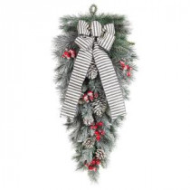 Home Accents Holiday 32 in. Snowy Pine Teardrop with Pinecones Berries and Striped Bow-2320720HD 206771267