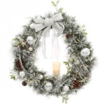 Home Accents Holiday 36 in. Battery Operated Snowy Silver Pine Artificial Wreath with 40 Clear LED Lights and LED Candle-2258080HD 205915137