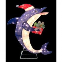 Home Accents Holiday 36 in. Pre-Lit Dolphin with Gift-TY467-1214 203266333