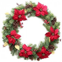 Home Accents Holiday 36 in. Unlit Burgundy Poinsettia Artificial Wreath-2110180HD 203986763