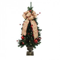 Home Accents Holiday 4 ft. Battery Operated Holiday Burlap Potted Artificial Christmas Tree with 50 Clear LED Lights-BOWOTHD153A 205915369