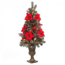 Home Accents Holiday 4 ft. Red Poinsettia and Twig Artificial Christmas Porch Tree with 50 UL Twinkle Lights-2315200HD-T 206768358