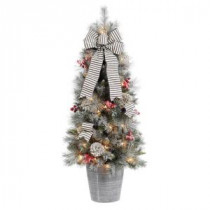 Home Accents Holiday 4 ft. Snowy Pinecone and Berry Artificial Christmas Porch Tree with 50 UL Clear Lights-2314620HD-T 206768350