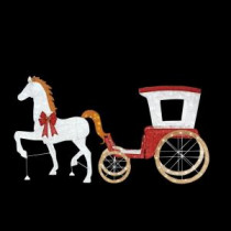 Home Accents Holiday 52 in. LED Lighted Horse with 52 in. LED Lighted Acrylic Sleigh-TY310-1611-2 206963190