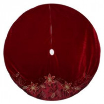 Home Accents Holiday 60 in. Velvet and Satin Poinsettia Christmas Tree Skirt-2604302-2HC 204074760