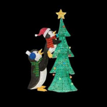 Home Accents Holiday 62 in. LED Lighted Tinsel Penguins with Tree-TY337-1611-1 206963369