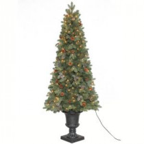 Home Accents Holiday 6.5 ft. Greenland Potted Artificial Christmas Tree with 250 Clear Lights-TV66P2534C00 203995446